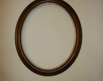 Vintage Oval Wood Frame  Brown+ Gold Shabby Chic Decor