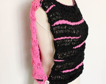 Black and Pink Reversible Knitted Cotton Vest/Top
