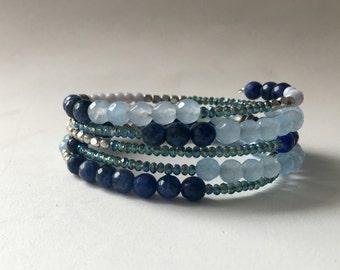 five strand wire bracelet - lapis & agate