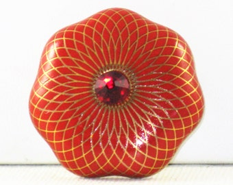 Vintage Royal Doulton Red and Gold Enamel Porcelain Brooch Pendant (B-2-1)