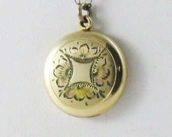 Antique Vintage LaMode Gold Filled Locket Necklace (N-2-1)