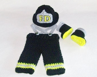 Firefighter Costume - Firefighter Baby - Newborn Fireman Outfit - Infant Costumes - Baby Costume - Crochet Baby Outfits