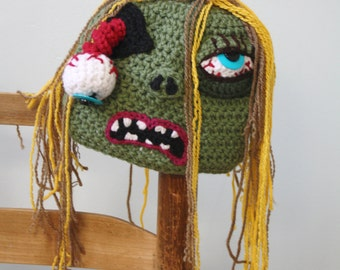 Zombie Hat, Crochet Beanie, Halloween Costume, Girl, Women, Clothing, Accessories, Crochet Zombie, Zombie Costume, Monster, Holiday Gift