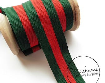 30mm Bottle Green and Red Stripe Woven Ribbon for Craft & Hat Trimming - 1m