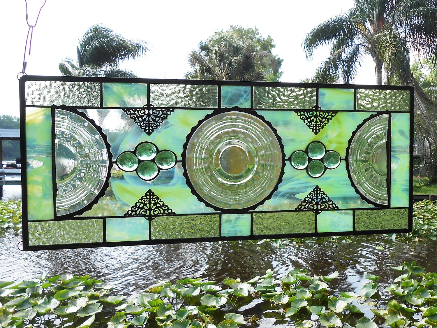 Stained Glass Window Panel W 1930s Banded Rings Depression