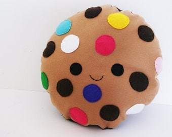 Large Happy Cookie Cushion, Multi Color Chip, Soft Toy, Felt Cushion, Food Pillow, Smiling Biscuit, Home Decor, Kawaii Pillow, Kids Room