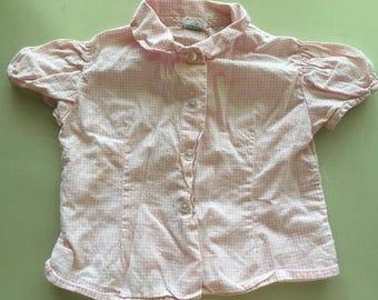 Toddler vintage pink gigham button-up shirt