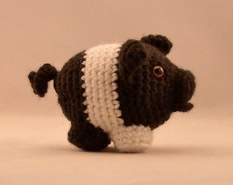 Pig Amigurumi, Handmade, Crochet, Black and White Pig, Amigurumi, Corkscrew Tail Pig, Stuffed Animal Pig, Plushy Pig Toy