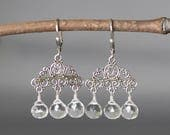 Reserved for Jeanne - Crystal Chandelier Earrings - Quartz Crystal Earrings - Bali Silver Earrings - Statement Jewelry - Wedding Jewelry