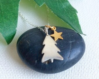 Tree Necklace, Pine Tree Necklace, Tree and Star Necklace, Sterling Silver Tree, NorthWoods, Evergreen Tree Jewelry, Tree Art, Gift For Her