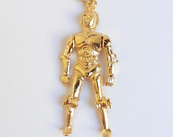 1970s goldtone C-3PO Star Wars pendant and chain