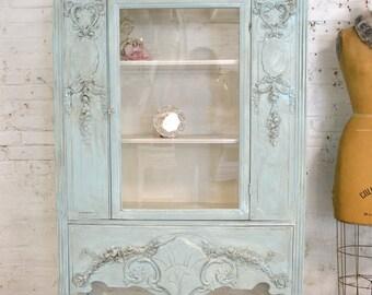 Painted Cottage Chic Shabby Aqua Romantic French China Cabinet CC895