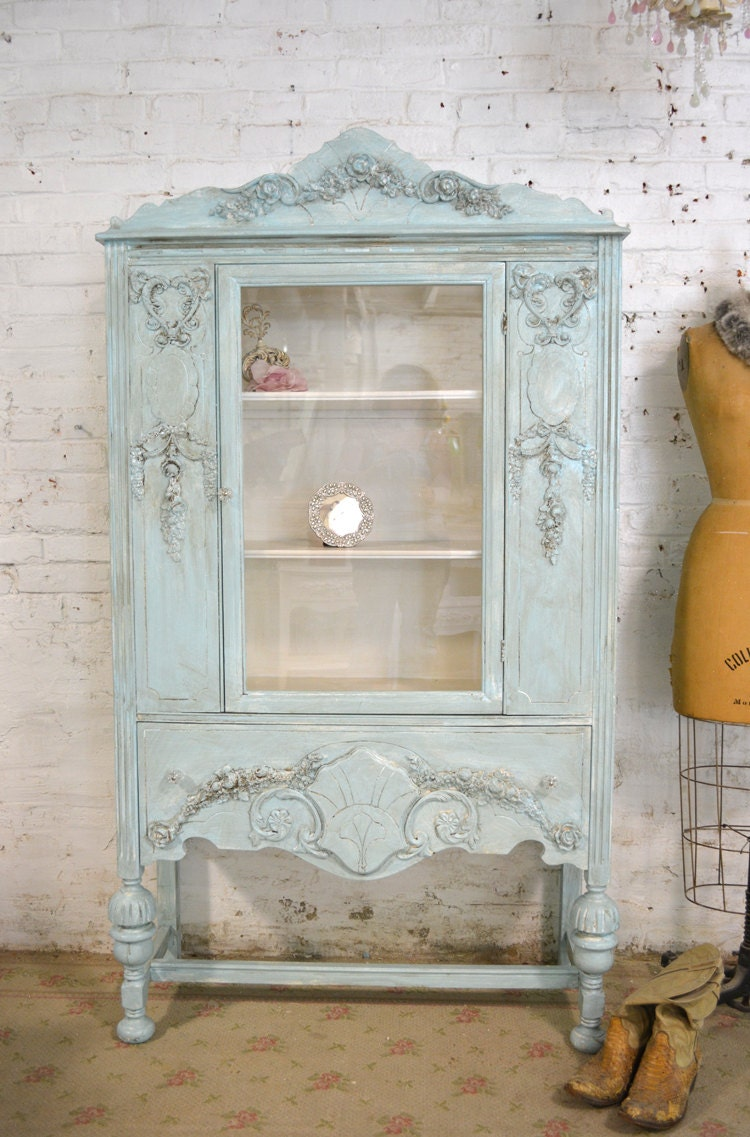 painted cottage chic shabby aqua romantic french china cabinet. Black Bedroom Furniture Sets. Home Design Ideas