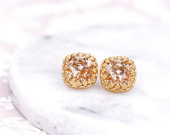 Gold Swarovski Cushion Crystal Ear Studs, champagne Wedding Bridesmaid Earrings Jewelry, bridal shower gifts, simple, gifts for her, emma