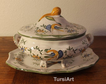 Faiencerie Jodra Martres Tolosane Tureen & Platter French serving dish Ceramic servingware from France Ibis Pattern Hand Painted Soup Stew