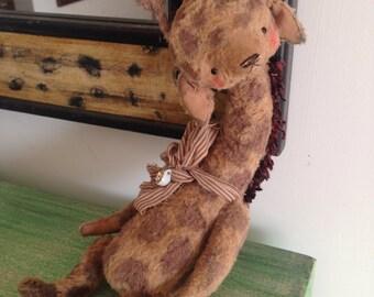 13 inch Artist Handmade Viscose Teddy Giraffe Cappuccino ino by Sasha Pokrass