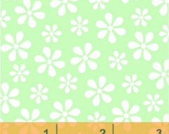 Windham - Basics/Pastels - Light Green w/ White Flowers - Fabric by the Yard 29399-13