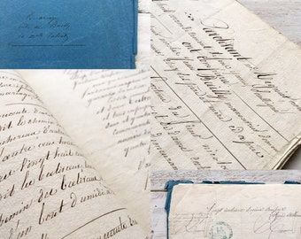 Beautiful french handwritten marriage document from 1855