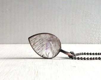Quartz Amethyst Necklace Rutile Stone Copper Jewelry Crystal Gemstone Agate Stone Pendant Artisan Midwest Alchemy