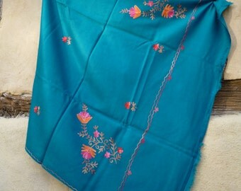 """Teal Blue Pashmina embroidered shawl/stole. 84 x 40""""  Kashmir.  Pure wool."""