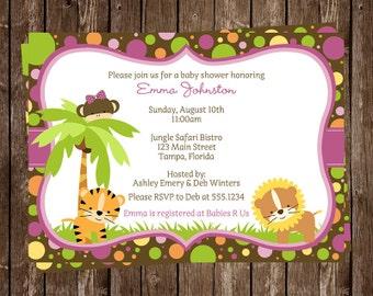 Jungle, Baby Shower, Invitations, Girls, Tiger, Safari, Lion, Monkey, Pink, Polka Dots, 10 Printed Invites, FREE Shipping, Personalized