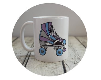 Roller Skate Coffee Cup, Ceramic Mug, 11 oz Custom Cup, Roller Derby, Personalized Mug, Sublimated Cup, Derby Wife, Christmas gift for her