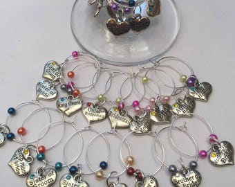 Wedding party wine glass charms with glass pearls
