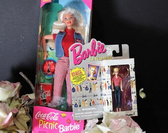 Vintage Barbie Doll, Picnic Barbie Doll and Keychain