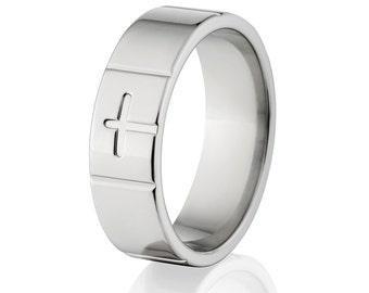 Cross Ring New 7mm USA Made Milled Titanium Ring Christian Cross Savior Ring : Free Sizing Band 4-17