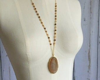 Agate Slice Necklace, Rosary Chain Necklace, Boho Necklace, Stone Necklace, Long Layering Necklace, Pendant Necklace, Gift for Her