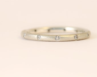 Sterling siilver 2mm round recycled ethical jewellery ten diamonds eternity ring Matt finish.