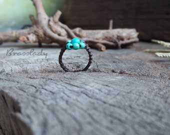 Turquoise Wax Cord Woven Ring
