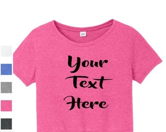 Custom District® Juniors Relaxed Crop Tee DT2303 Vinyl or Glitter Print Customized All Colors