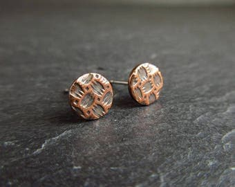 Copper stud earrings with embossed pattern, studs, copper wedding anniversary gift, 7th anniversary gift, copper earrings, post earrings