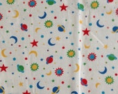 Vintage Cotton Flannel - Planets Stars and Moons - Soft Flannel - Quilt Fabric - 1 &1/4 Yard