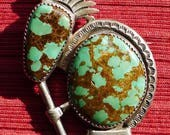 Reserved for Stuart, please do not purchase:) -- Large Navajo Sterling Silver Turquoise Kokopelli Pin / Brooch
