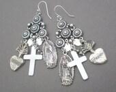 ON SALE Milagro Silver Chandelier Earrings. Sacred Heart Dangle Earrings. GIFT.  Mother Daughter. Wedding Party. Sister . Birthday Gift