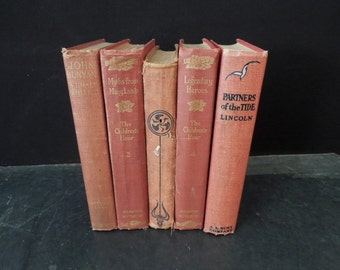 Red Faded Book Stack - Rustic Worn Old Books by Color - Decorative Vintage Book Stack Home Staging