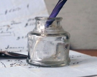 Antique Clear Glass Ink Bottle