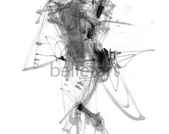 Pas de Deux, ballet art, art print, black and white art, artwork, ballerina gift, contemporary wall art, his and hers, dance gifts, abstract