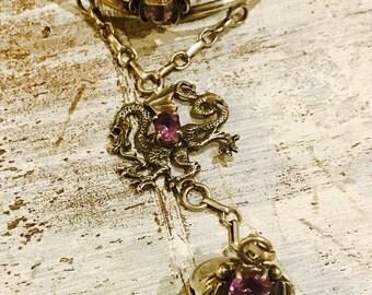 Beautiful Sterling Silver  Carved Amethyst Dragon Carol Felley Designer Vintage Cuff Slave Bracelet