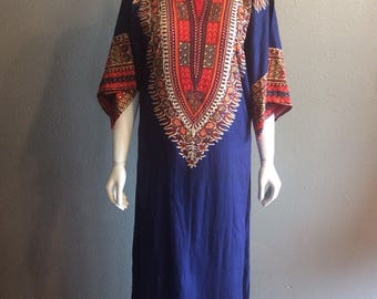 Vintage 1960s 1970s Dashiki Tunic Dress // seventies 70s Ethnic Daishiki dress / daishiki ethnic print maxi festival dress