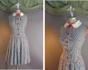 1960s dress vintage 60s GRAY WHITE RED stripe fit and flare drop waist red piping pleats full skirt dress