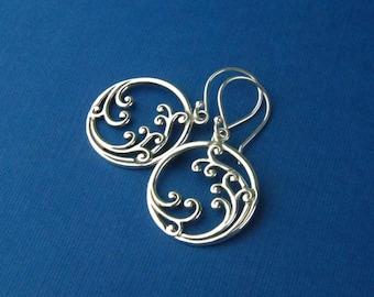 Sterling silver crashing waves pendant earrings, scroll earrings, filigree earrings, surfing, round pendant, ocean, mother's day