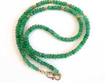 Emerald necklace gold 18K strand - Handmade Fine Jewelry