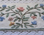 Large Piece of Cabin Crafts Botanical Needle Tuft Vintage Chenille Bedspread Fabric