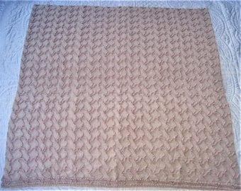 "Sandstone Beige Cabin Crafts Squiggle Pattern Vintage Chenille Bedspread Fabric 25"" x 25"""