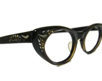 Vintage 60s Eyeglasses Eyewear With Rhinestones Frame