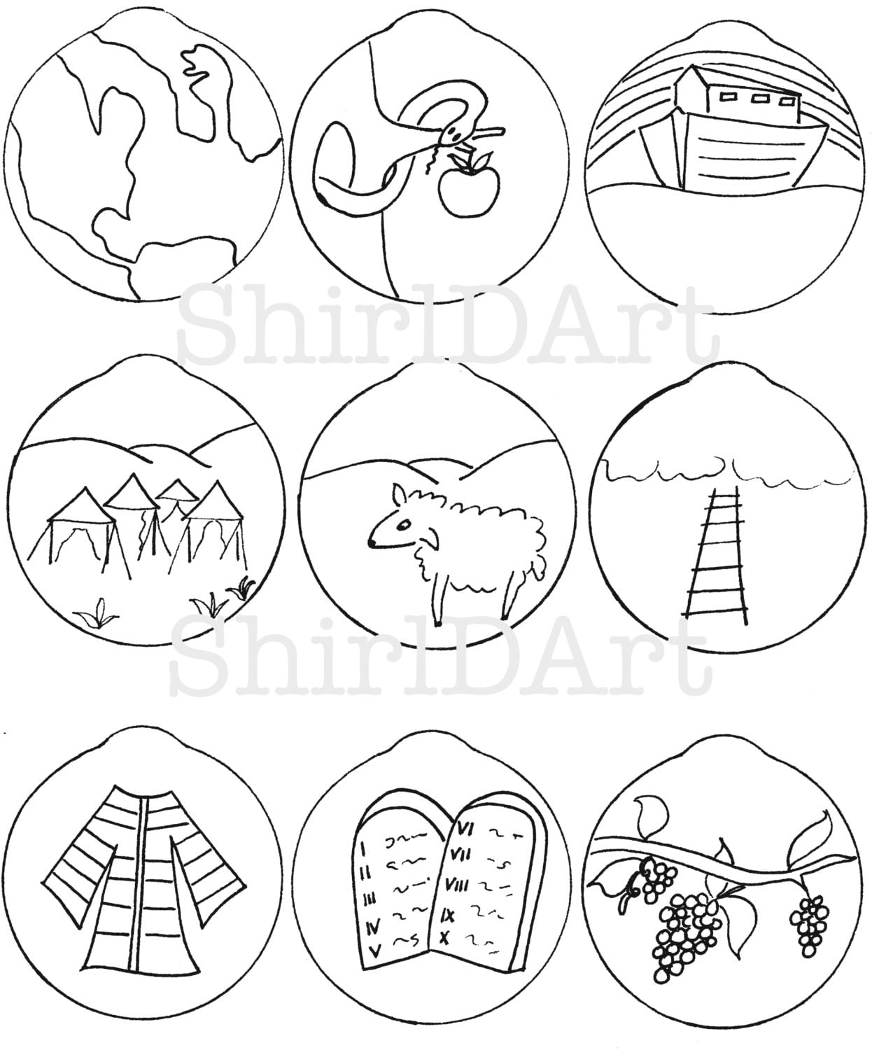 Jesse Tree Ornaments Coloring Sketch Coloring Page