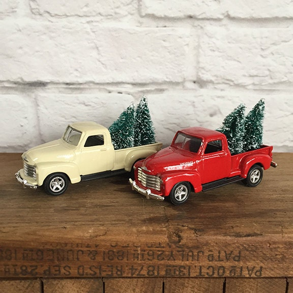 Vintage Chevy Pickup Truck Christmas Ornament with Trees